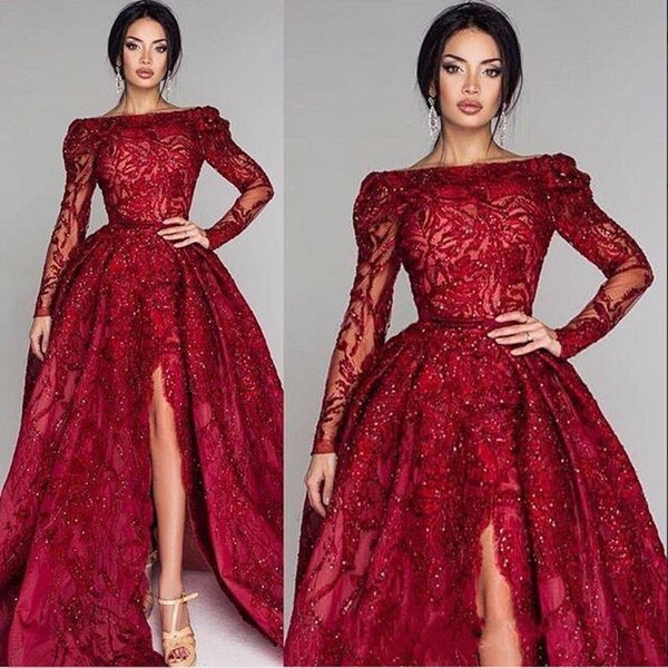 Glamorous Burgundy Prom Dresses Bateau Neck Lace Appliques Beads Waist Evening Dresses Side Split Long Sleeves Backless Party Gowns