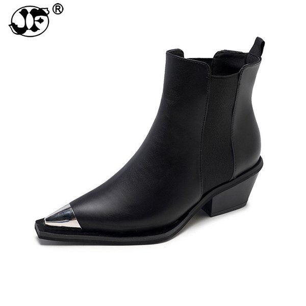 Women Martin Motorcycle Boots Cool Buckle Zipper Pointed Toe Shoes Woman Chunky Heel Short Ankle Boots Big Size hjm90