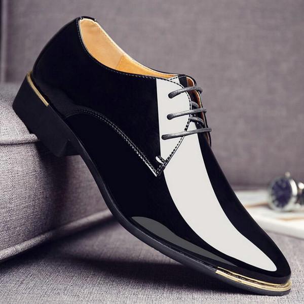 2018 big sizeluxury Marque Homme Pointu Toe Dress chaussures Classique Mens En Cuir Verni Chaussures De Mariage Noir Oxford Formelle LD-74