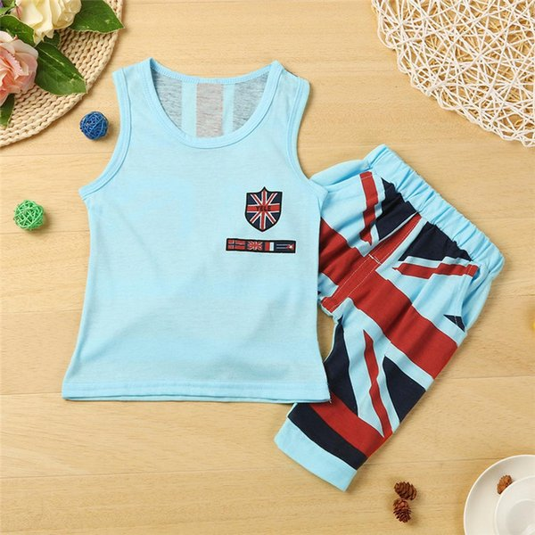 2PCS Boys Sets Kids Baby Boys Union Jack Print Sleeveless Vest Tops+Print Shorts Set Boys Clothes Suit For 2-6T Baby M8Y09