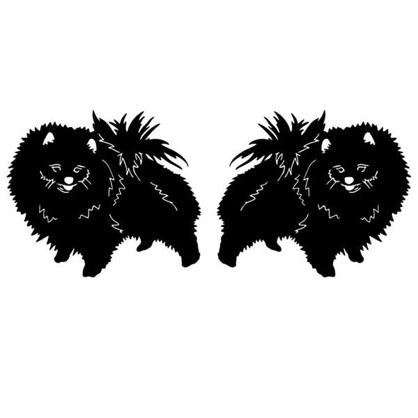16*6.7CM Pomeranian Dog Lovely Animal Vinyl Decal Car Sticker Black/Silver CA-1090