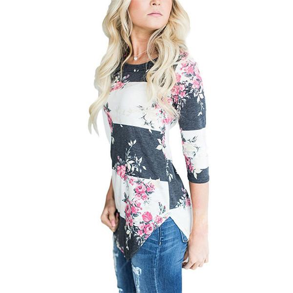 Fashion Casual Long Sleeve Printed Floral Flower T Shirt Women Top Tees Summer Autumn T-shirt Ladies Tshirt Clothes