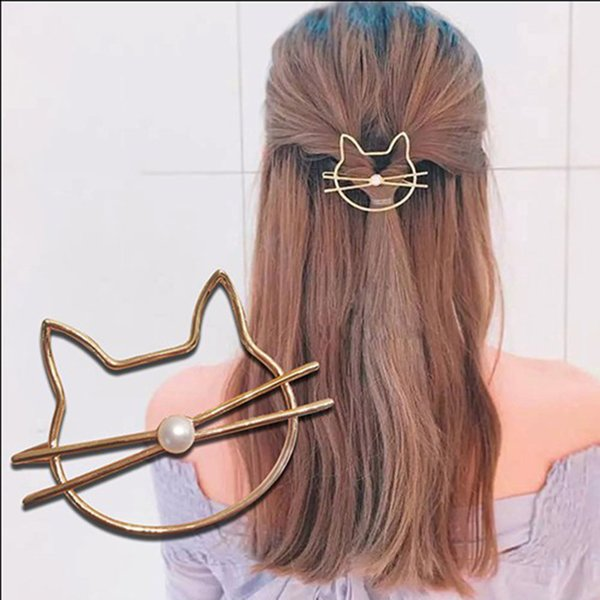 New Fashion Cute Beauty Crystal Cat Pearl Gold Headwear Hairpin Hair Clip Women Barrette Hairpins Hair Clips Accessories