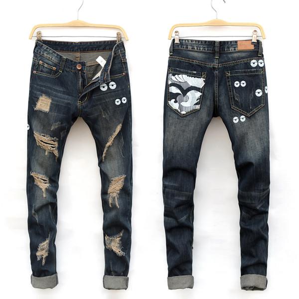 2016 new hole style man patch denim jeans men straight pants 28-38 high quality cotton cozy elastic slim male pants
