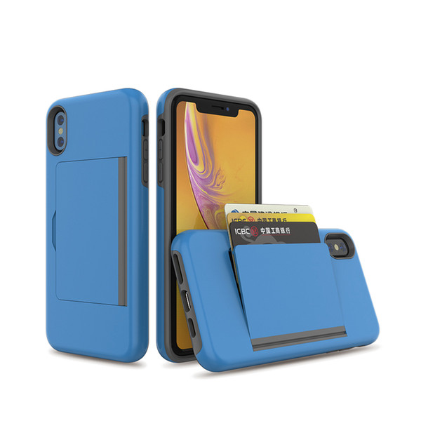 For Iphone 6 7 8 Plus XS MAX XR Wallet Card Slot Holder Hidden Back Full Body Shock Absorption Protective Phone Case Cover
