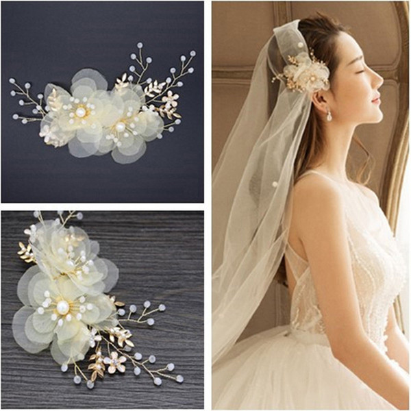 Flor de perla Pinza para el cabello Accesorios para el cabello de la boda Tocados para la novia Barrettes Hoja de oro Rhinestone Cristal Cabeza Piezas Joyería Palabra