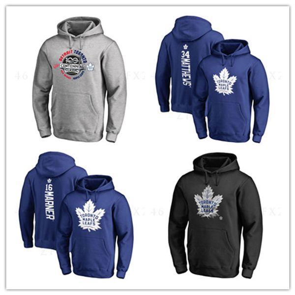 34 # clay matthews New Hockey Jerseys Herren Toronto Maple Leafs Branded Schwarz Grau Sport Hoody Langarm Outdoor Wear Jacken bedruckte Logos