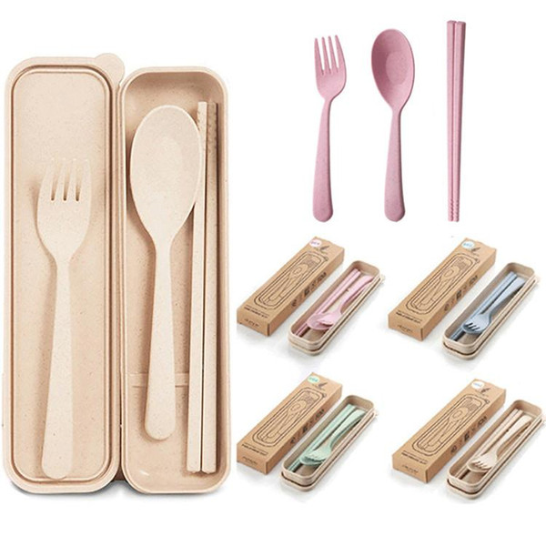 top popular Hot Exquisite Health Environmental Wheat Platycodon Straw Cutlery Set Portable Camping Tablewarel Spoon Fork Chopsticks Camp Kitchen 2021