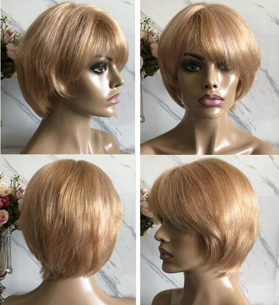 Celebrity Wig Lace Front Wigs Short Cut PiXie Style Blond Hair Brazilian Virgin Human Hair Full Lace Wig for Black Woman Free Shipping