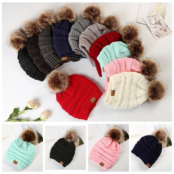 Large Ball Winter Wool Warm Women Knitted CC Hat Fur Pom Poms Crochet Beanie Ski Cap Bobble Fleece Cable Slouchy Skull Caps 12 Colors 20pcs