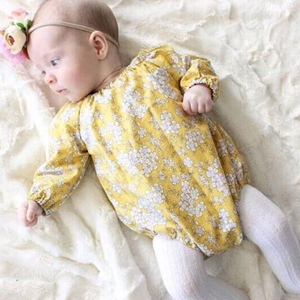 Ins bébé filles imprimé floral fleurs manches longues jaune couleur barboteuses nouveau-nés bambins infantile bébé printemps automne filles filles barboteuse
