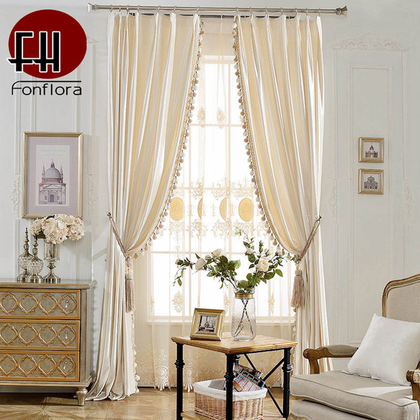 top popular Europe Velvet Curtains For Living Room Curtains For Bedroom Solid Italy Velvet Fabric With Pom-pom Pendant Soft Drapes 2021