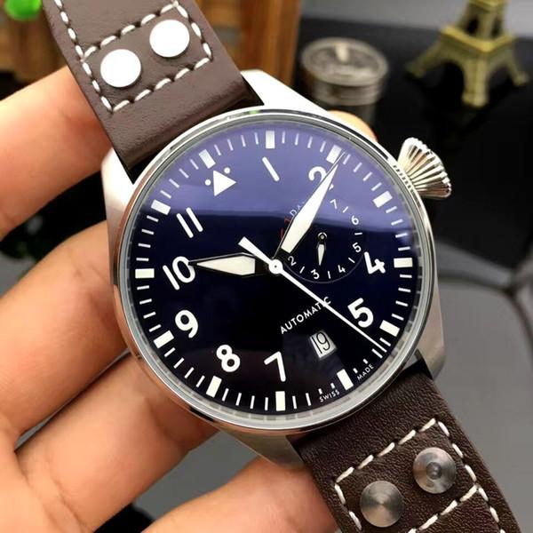 Luxury de igner new men automatic mechanical cla ic big pilot 46mm le petit prince black leather watch montre de luxe, Slivery;brown