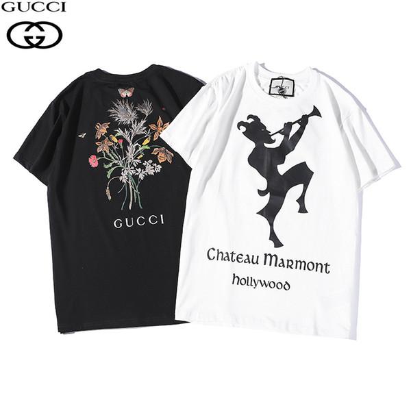 MensWomens T Shirts 2019 Sommer Neue Designer Kleidung Mode Brief Drucken Kurzarm Luxus Blumenmuster Einfache Clown Silhouette Tops