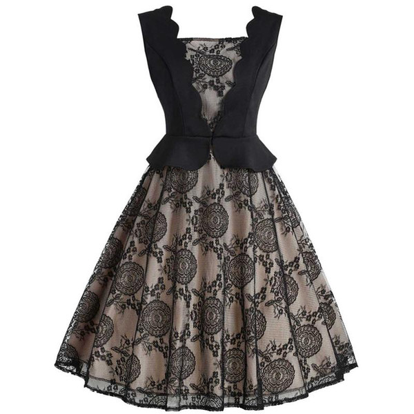 Party Dress 50s Retro Hepburn Style Chic Scalloped Neckline Color-blocking Pieced-in Lace Slim Waist Flared Dress