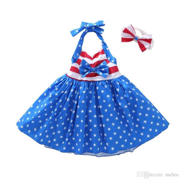 CHAMSGEND Criança Bebê Meninas Estrela Impressão 4o De Julho Borla Correias Vestido Listrado Roupas Impressão Estrela Boutique Bonito Vestido De Dezembro De 27