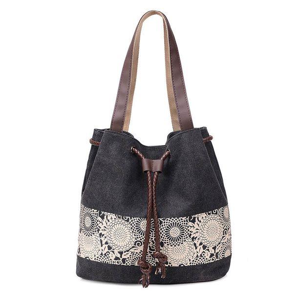 4690cad7caa0 Женская сумка из плотной ткани с цветочным принтом Сумка на плечо Женская  большая сумка Женская пляжная