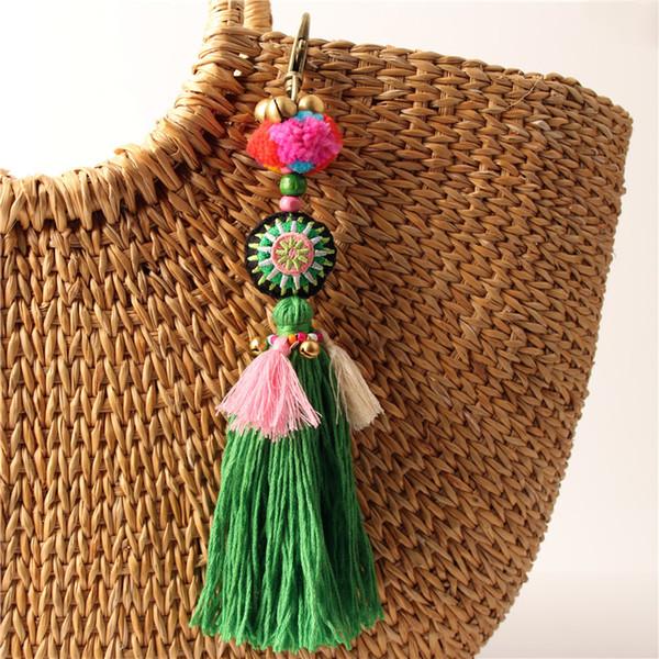 Green Boho Pom Pom Key Chain Bag Accessories Tassel Bag Purse Rainbow Charm Keychain Beach Jewelry