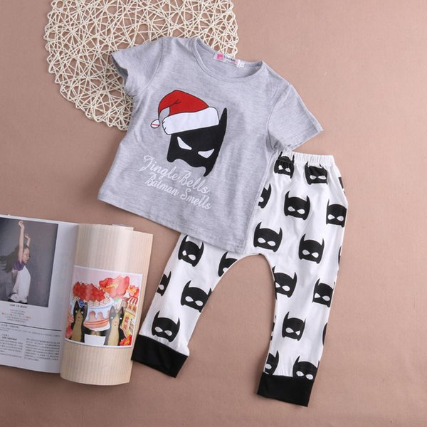 Baby Boy Girls Christmas Cap Batman Outfits Short Sleeve T-shirt+Pants 2pcs Set Summer Kids Clothing Sets