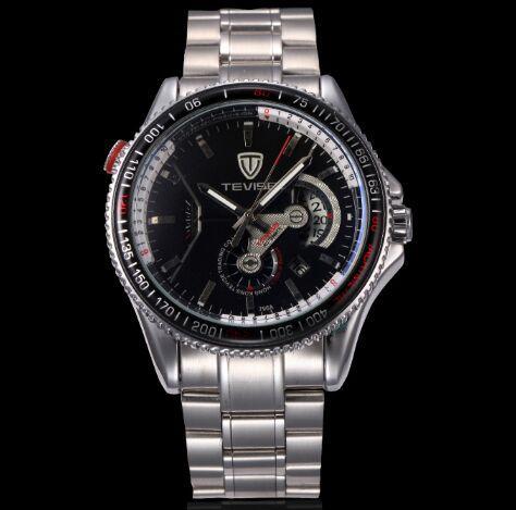 TEVISE Marke Wasserdicht Automatische Mechanische Herrenuhr Leucht Edelstahl Band Selbstwind Mechanische Armbanduhr Sportuhr 796A