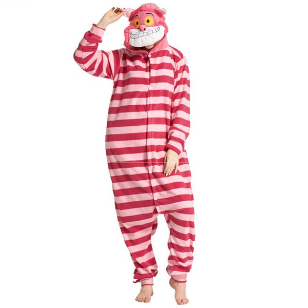 Cheshire Cat Onesie Animal Funny Pajamas Costume Adult Men Women Pink Red Stripe Loose Jumpsuit Overalls Fairy Tale Party Suit