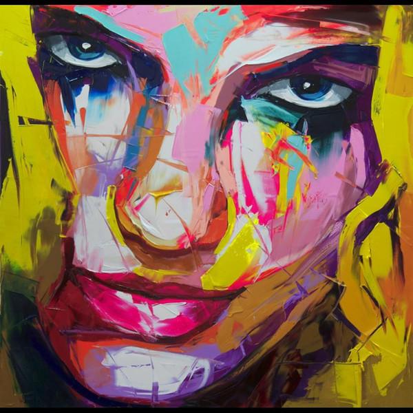 Tuval içbükey ve dışbükey Doku Face129 üzerinde Francoise Nielly Palet Bıçağı Gösterim Ev Artworks Çağdaş Portre el yapımı yağlıboya