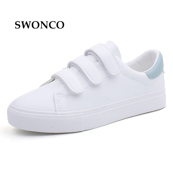 SWONCO Women's Vulcanize Shoes Sneakers Candy Color Hook & Loop Canvas Shoes White Sneakers Women Rubber Sole Ladies Shoe