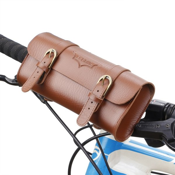 B-soul Retro Bicycle Tail Bag Functional Waist PU Leather Cycling Bag Saddle Rear Pannier Personalized Riding Vintage Bike