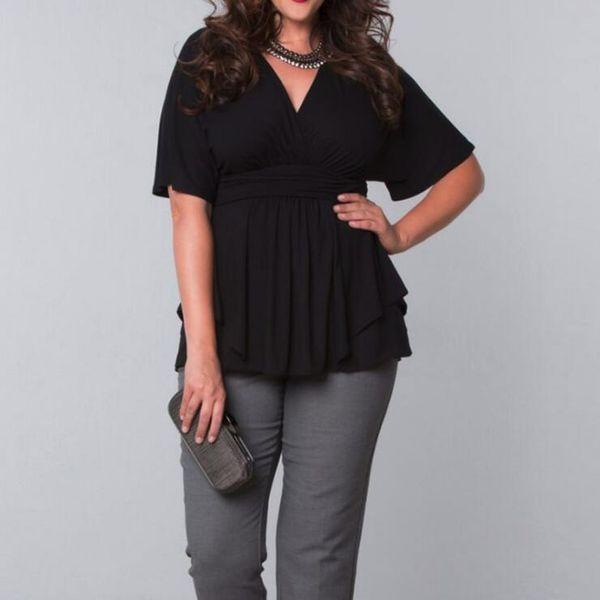 В наличии Женская Плюс Размер Блузка С Средним Рукавом V-образным Вырезом Повседневные Рубашки Черный Белый 2XL-6XL Летнее Платье с Высокой Талией