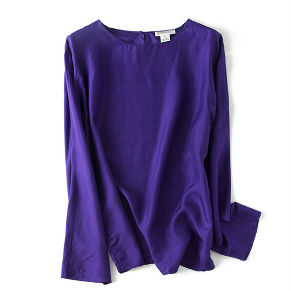 Women's Vintage Natural Silk Blouse Ol Pure Silk Tops With Plus Size Large Size Holiday Women Elegant O-neck Long Sleeve Blouses J190614
