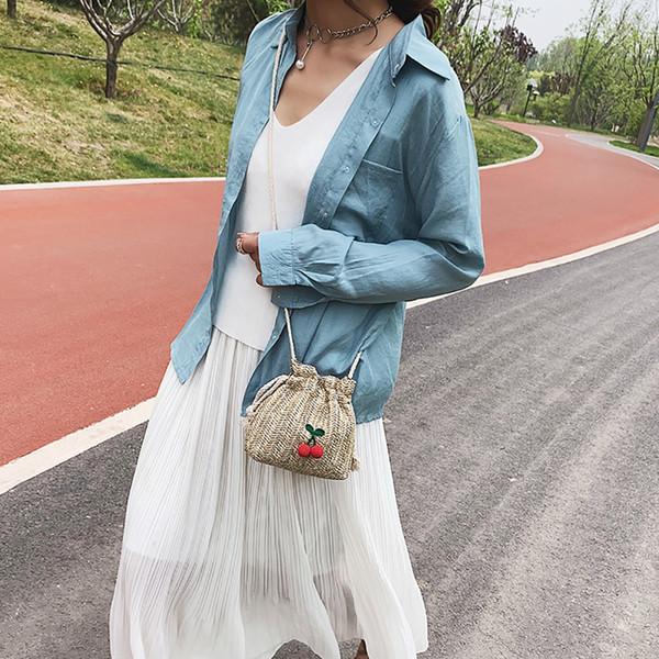 OCARDIAN Handbag New Fashion Bag Women Pure Color Mulit Style Straw Bag Joker Drawstring Dumplings Handbag Dropship May8