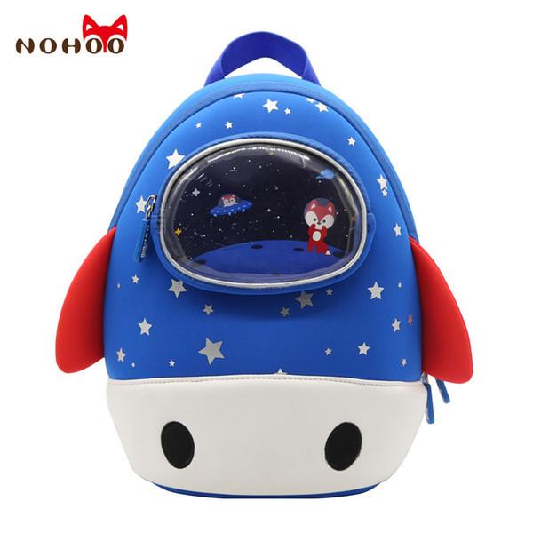 NOHOO Toddler Kids Backpack 3D Rocket Space Cartoon Pre School Bags Children School Backpacks Kindergarten Kids Bags Mochila Y190601