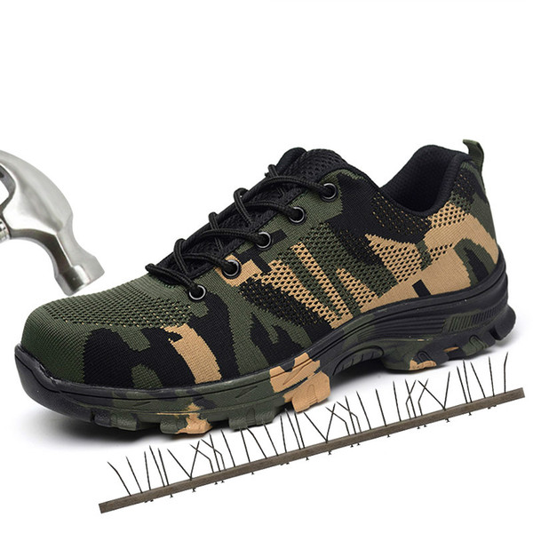 Men Work Safety Boots Plus Size Outdoor Steel Toe Cap Military Shoes Men Camouflage Puncture Proof Army Boots XX-417