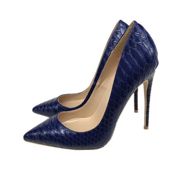 2019 ücretsiz kargo moda kadınlar lady seksi mavi python Deri Poined Toes yüksek topuklu topuklu ayakkabı Stiletto Topuk ayakkabı pompa 12 cm 10 cm 8 cm