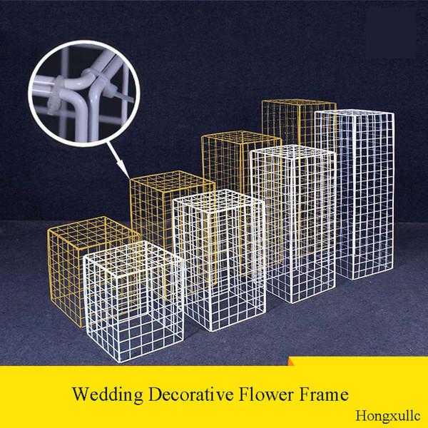 30 cm Boda nueva rejilla camino plomo flor marco marco hierro forjado globo geométrico camino plomo columna partido decorativo soporte de flor