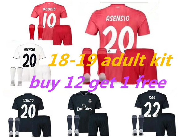 18 19 Real Madrid home soccer jersey kits 2018 2019 Campeones MODRIC Asensio BALE ISCO away 3rd red adult football shirt uniforms Sales