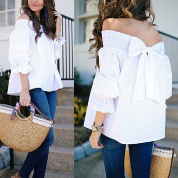 Fashion White Elegant Women Blouses Shirts Sleeve Bow Slash Neck Off Shoulder Tops Casual Loose Blusas Female Summer Size S-XL