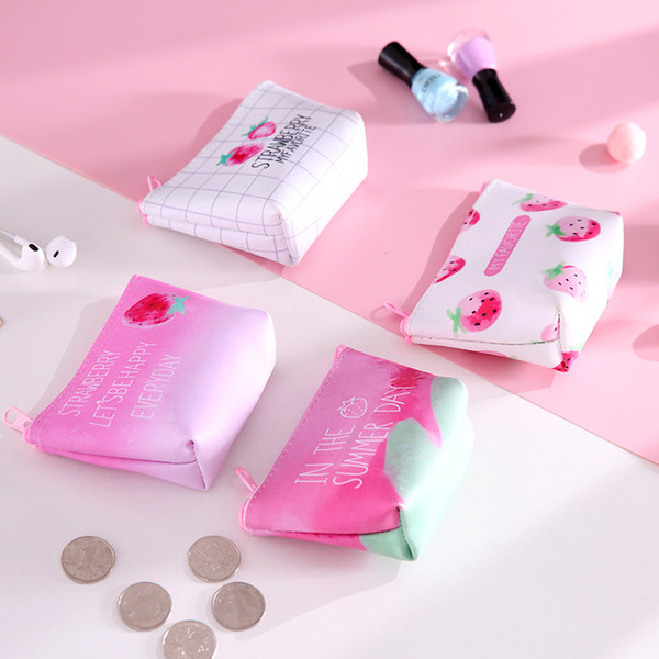 New Arrival Strawberry And Lemon Pattern Wallet Woman Mobile Phone Bag Cosmetic Wash Bag Fanshion Coin Purse Gifts