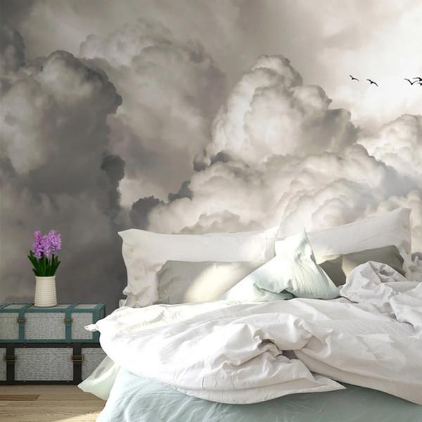 Acquista Carta Da Parati Personalizzata Di Qualsiasi Dimensione 3D Retro  Sky Nuvole Uccelli Murales Camera Da Letto Camera Dei Bambini TV Sfondo  Muro ...