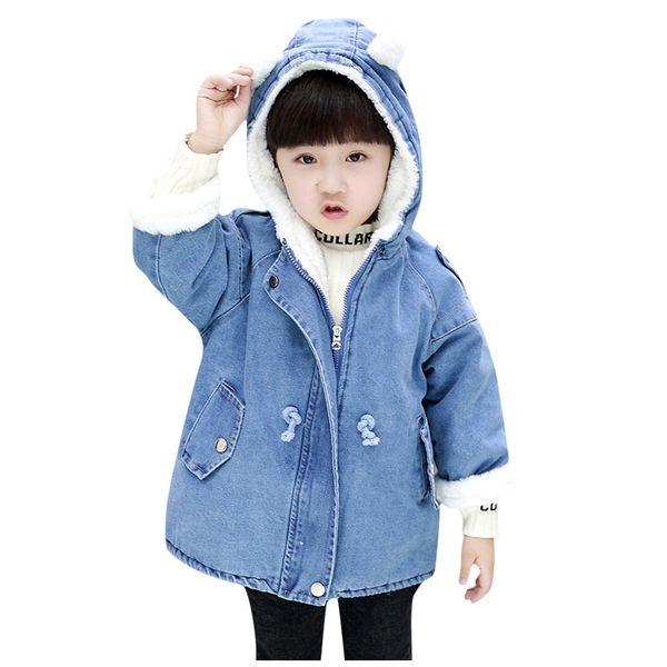 Thicken Jeans Denim Warm Coat Fur For Baby Kids Winter Warm Outwear Jacket Coat Casual Girl Kids Baby Winter Coat