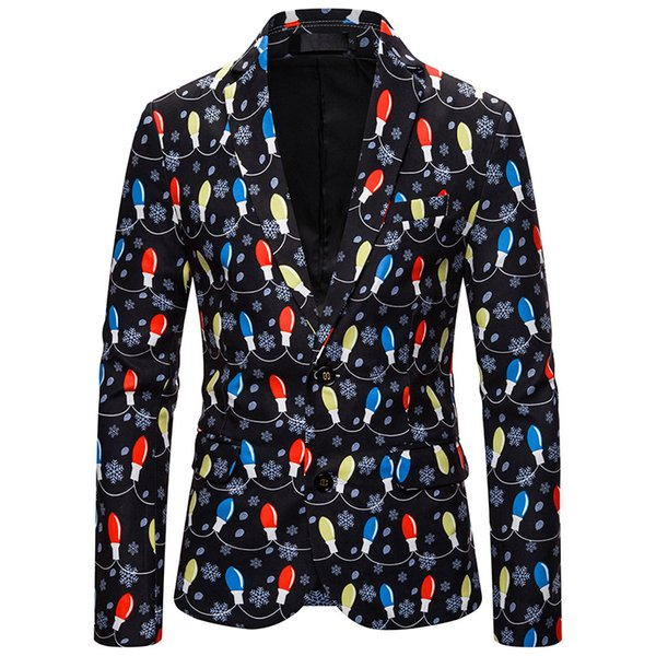 Men's Christmas Jacket New Fashion Casual 3D Digital Print Suit Print Long Sleeve Party Party Fashion Costume Christmas Style