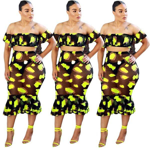 Imprimer Deux Pièces Maille Robe Dames À Manches Longues Perspective Taille Haute Robes Femme Party Night Plus Taille Moulante Ensemble Dress DAN-19