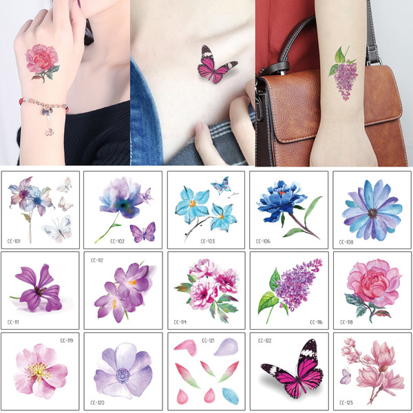Small Flower Tattoo Sticker Lotus Flower Arm Neck Hand Face Body Art Design for Woman Kid Butterfly Temporary Tattoo Transfer Paper Decal 3D