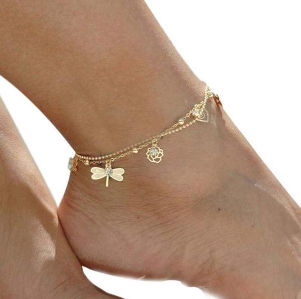 2019 Leaf Butterfly Dragonfly Anklet bracelet on the leg for women fashion chian on foot girl Beach ankle Bracelets jewelry gift