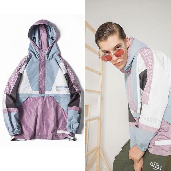 fashion men patchwork windbreaker jacket dye blue pink block letter printed hood hip trench raglan sleeve boomer