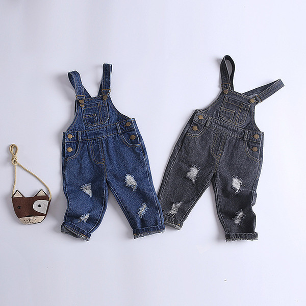 New Kids Denim Jumpsuit Children Ripped Overalls Jeans Pants Boys and Girls Casual Broken Jeans Pants 1-4 Years Free Dropship