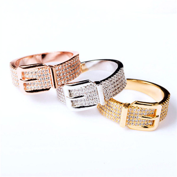 New Fashion Exquisite Rings Luxury Belt Shape Bracelets Slim Bangles Engagement Rings Gold Silver Rose Bracelet Belts Shape Rings Lover Gift