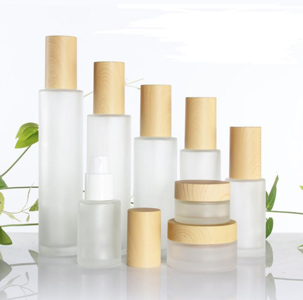 Frosted Glass Bottle Cream Jar with Wood Lid Lotion Spray Pump Bottle Refillable Cosmetic Container Jar 30ml 40ml 50ml 60ml 80ml SN3138