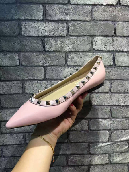 New 2019 Summer Fashion Luxury lady Studded ballerina nude pointy flats Heel shoes Wedding Dress Barefoot Sandals 34-41