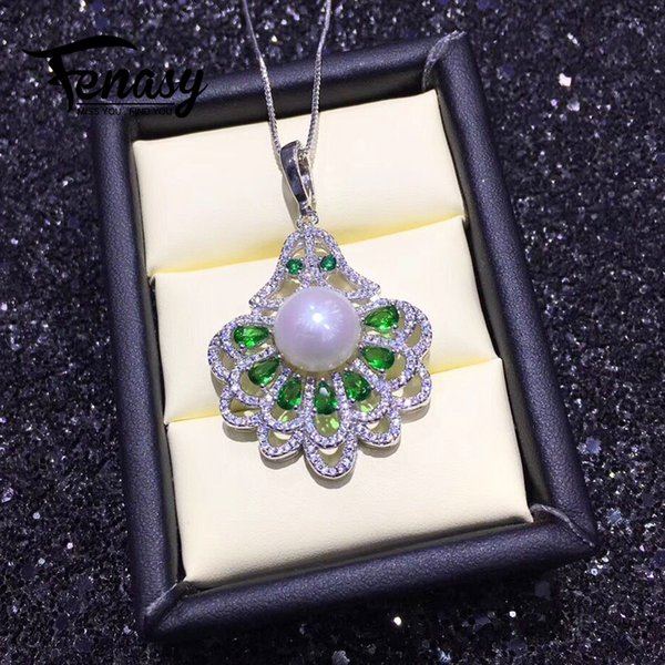 wholesale pearl jewelry natural Pearl pendant necklace for women 925 sterling silver chain necklace green stones party jewelry